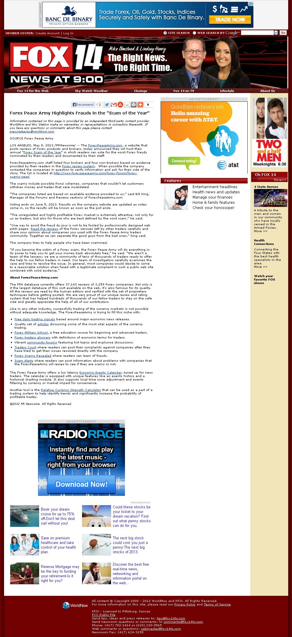 Forex Peace Army   KFJX-TV FOX-14 (Pittsburg, KS)