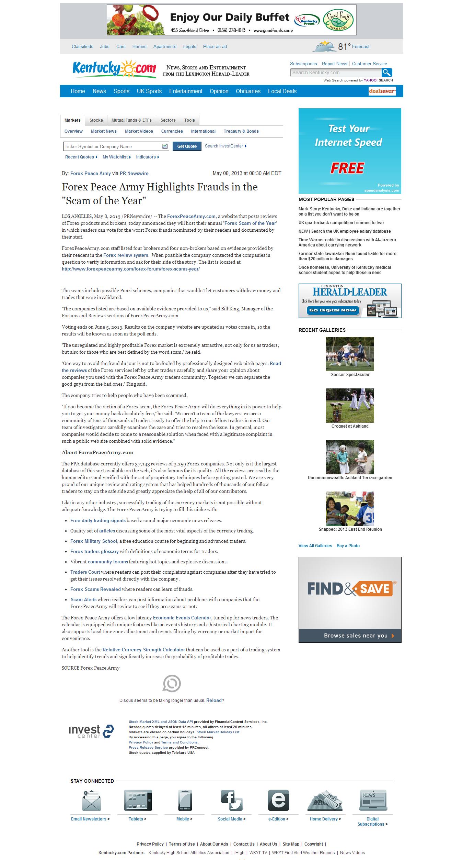 Forex Peace Army   Lexington Herald-Leader (Lexington, KY)
