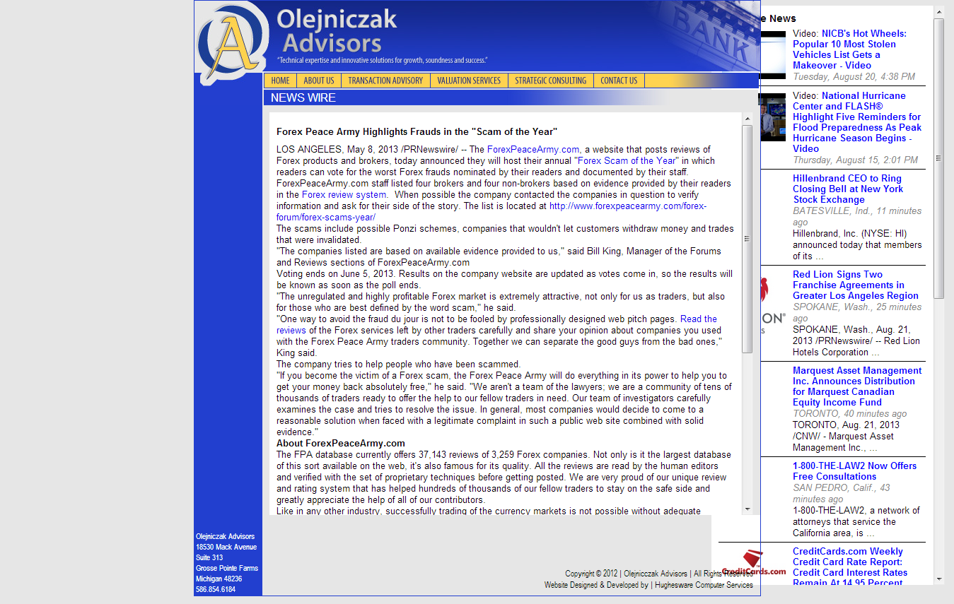 Forex Peace Army | Olejniczak Advisors