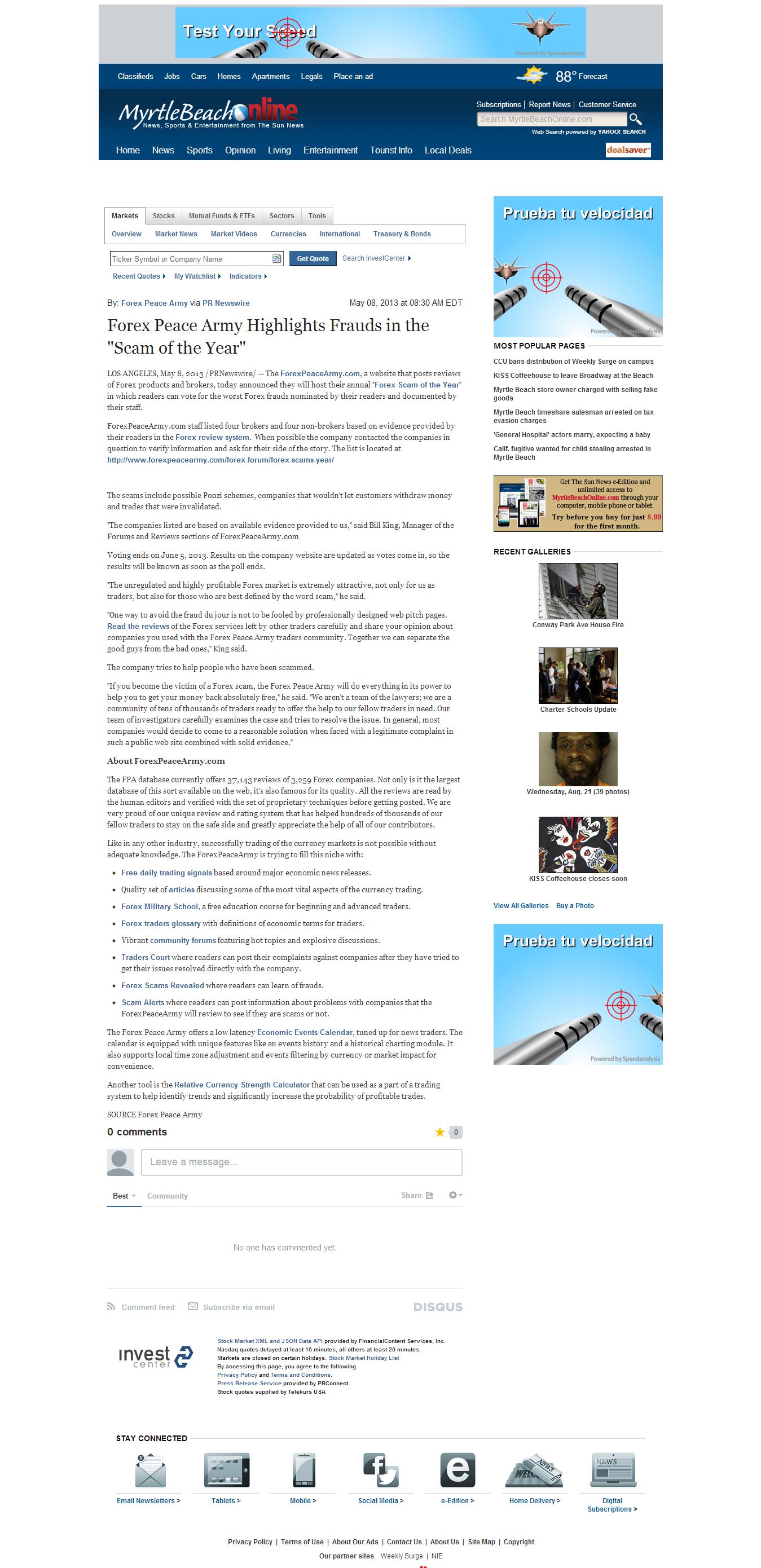 Forex Peace Army | The Sun News (Myrtle Beach, SC)