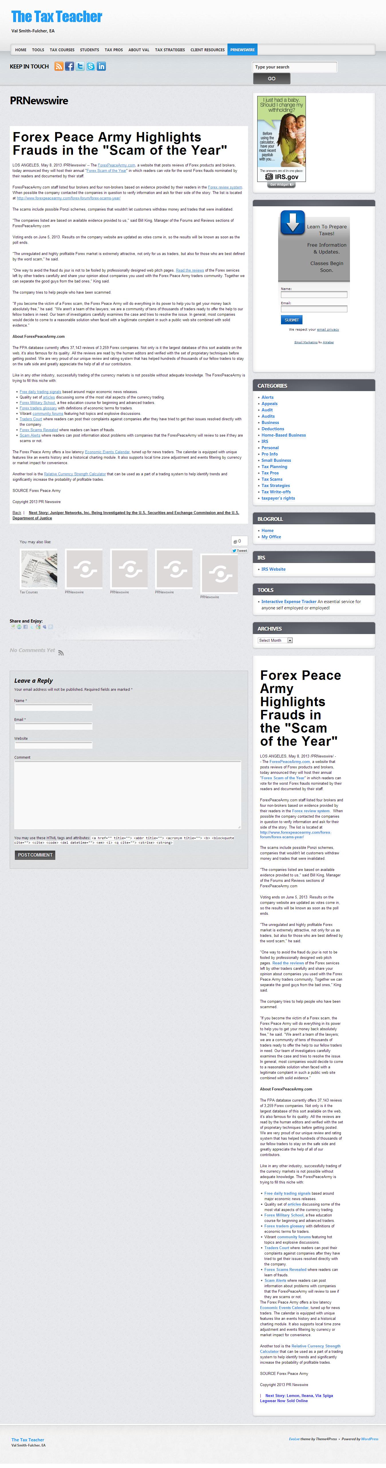 Forex Peace Army   The Tax Teacher