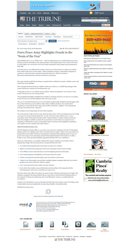 Forex Peace Army | Tribune (San Luis Obispo, CA)