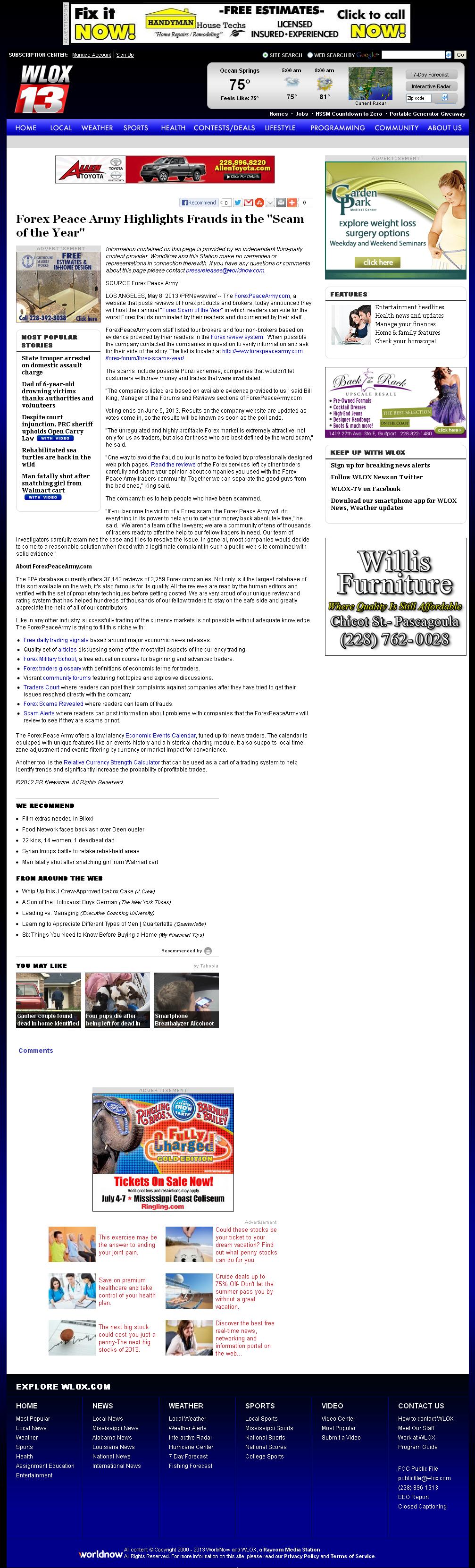 Forex Peace Army | WLOX ABC-13 (Biloxi, MS)