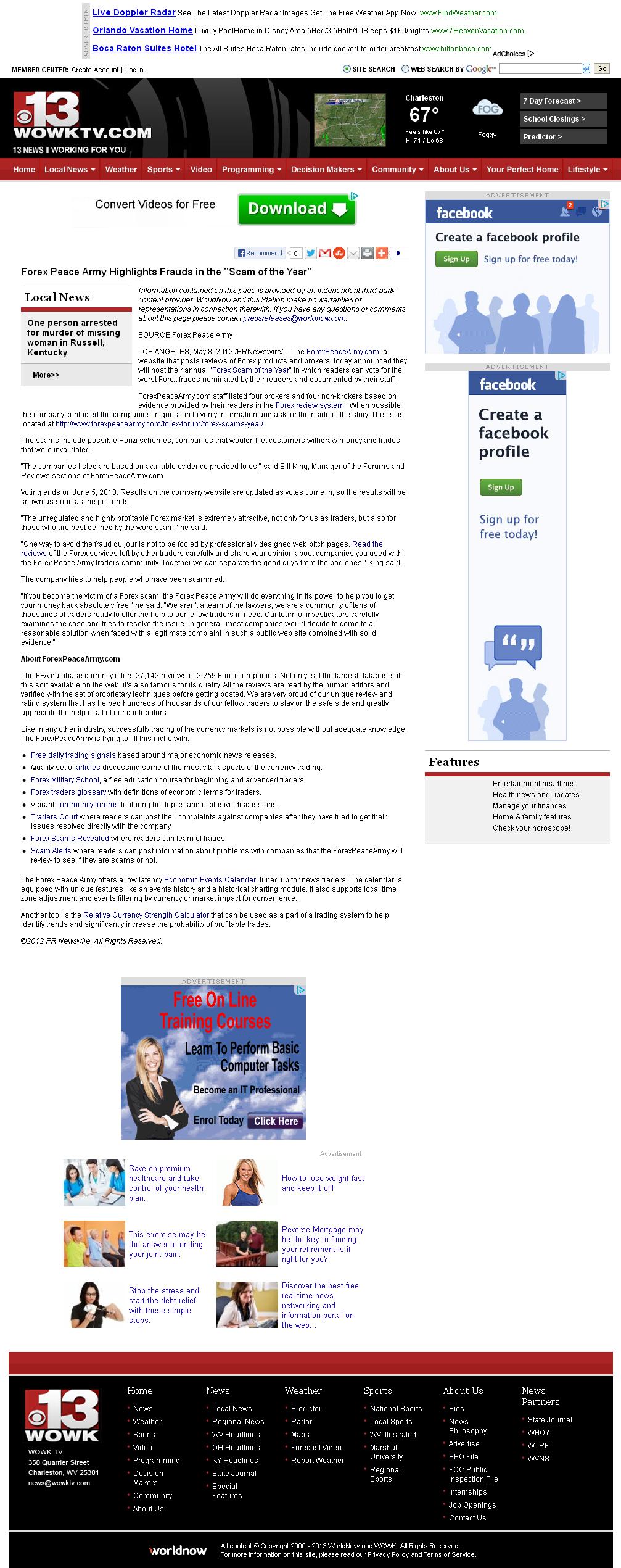 Forex Peace Army   WOWK-TV CBS 13 (Huntington, WV)