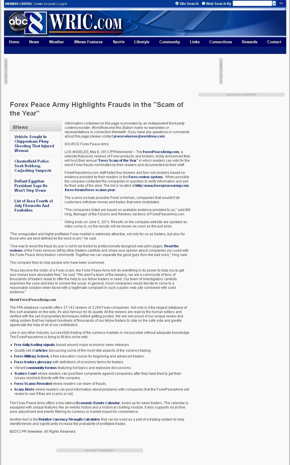 Forex Peace Army | WRIC ABC-8 (Richmond, VA)
