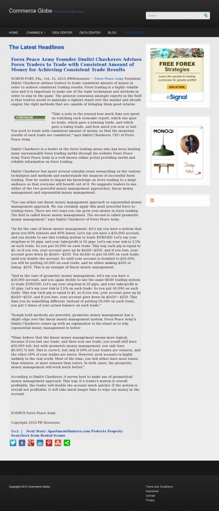 Dmitri Chavkerov - Commerce Globe - Consistent Money