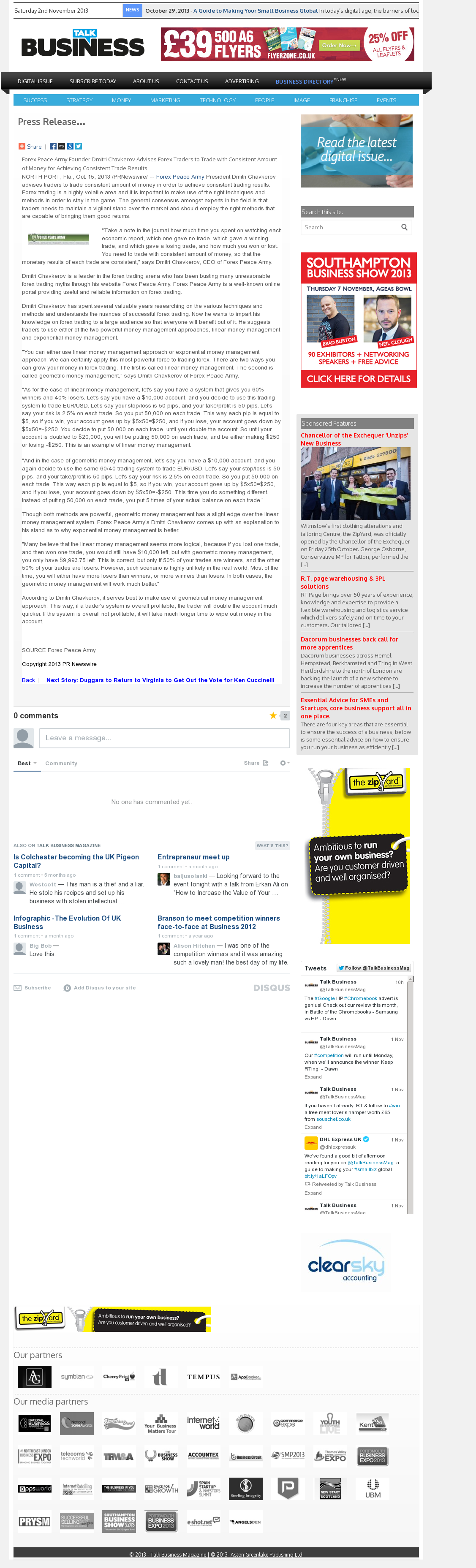 Dmitri Chavkerov - Talk Business Magazine - Consistent Money