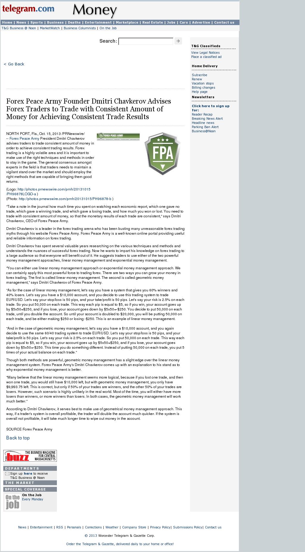 Dmitri Chavkerov - Worcester Telegram & Gazette - Consistent Money