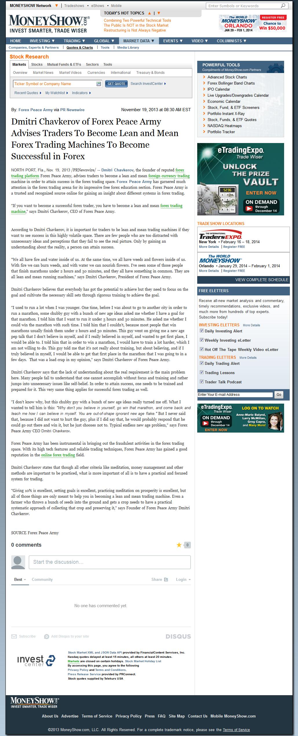 Dmitri Chavkerov - Advise for Traders through Money Show