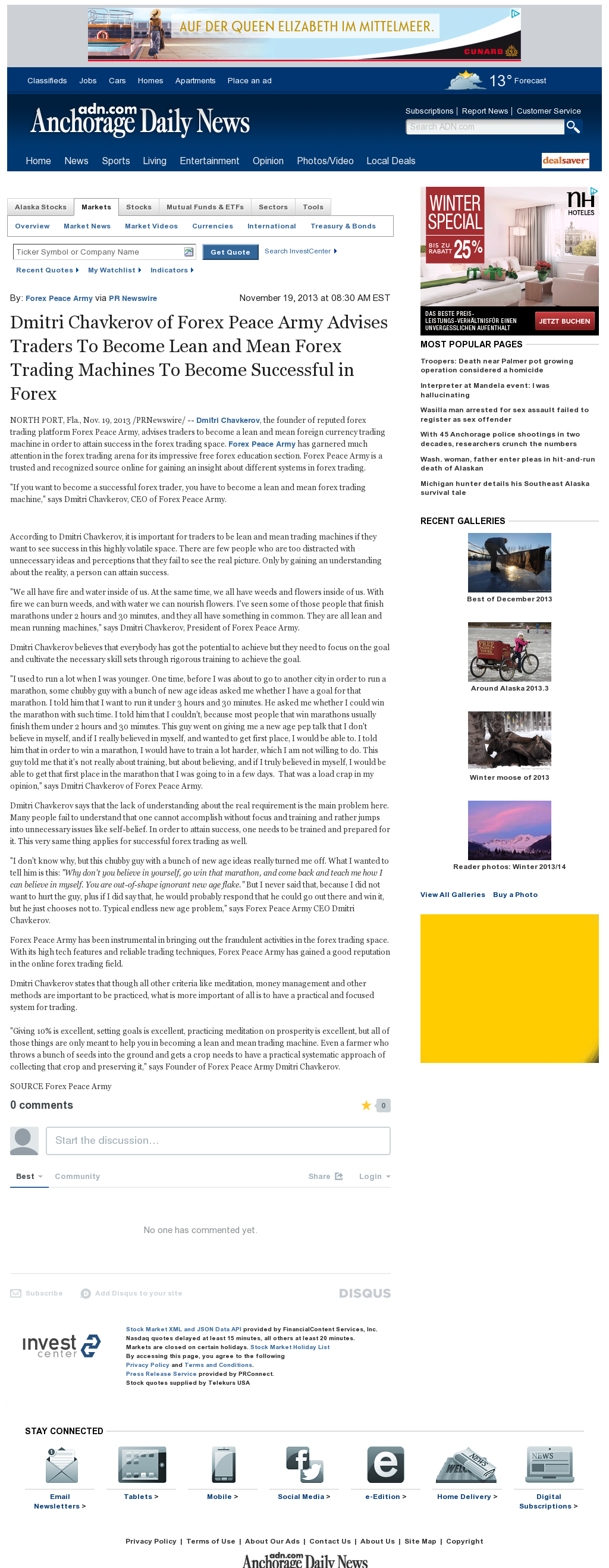 Dmitri Chavkerov - Anchorage Daily News - Lean Forex Trading