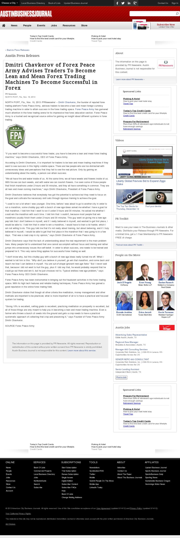 Dmitri Chavkerov - Austin Business Journal - Lean Forex Trading