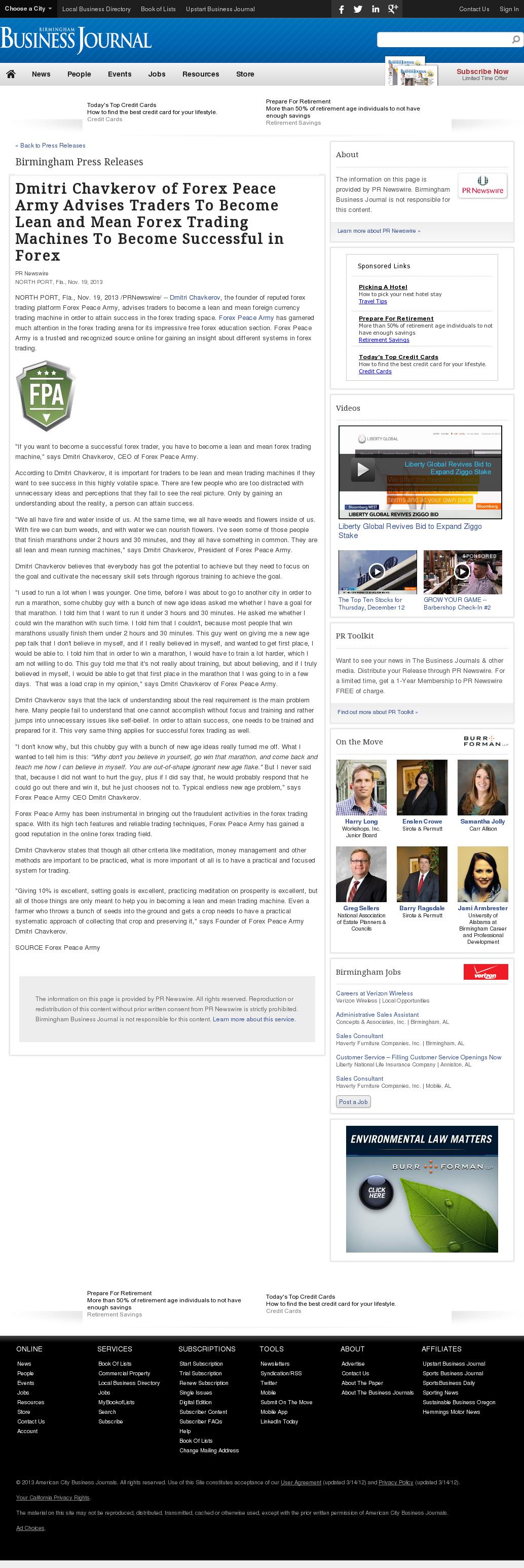 Dmitri Chavkerov - Birmingham Business Journal - Lean Forex Trading