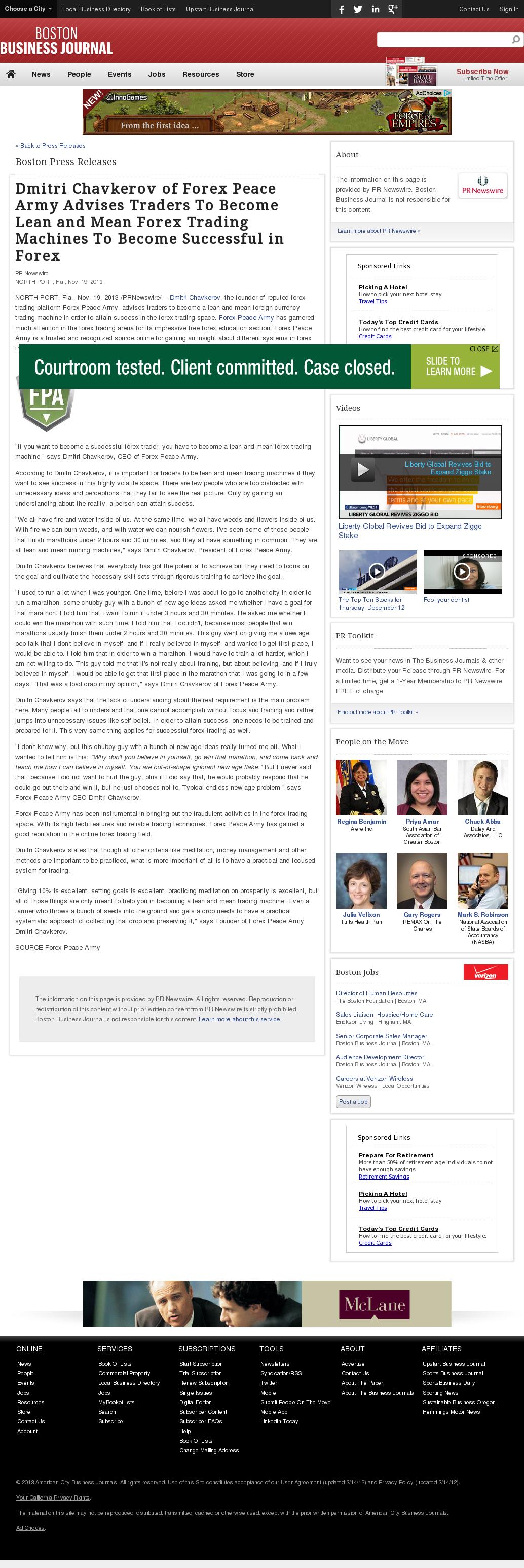 Dmitri Chavkerov - Boston Business Journal - Lean Forex Trading