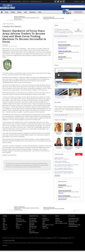 Dmitri Chavkerov - Business First of Columbus - Lean Forex Trading