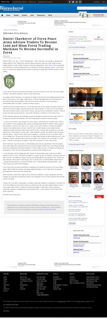 Dmitri Chavkerov - Business Journal of Greater Milwaukee - Lean Forex Trading