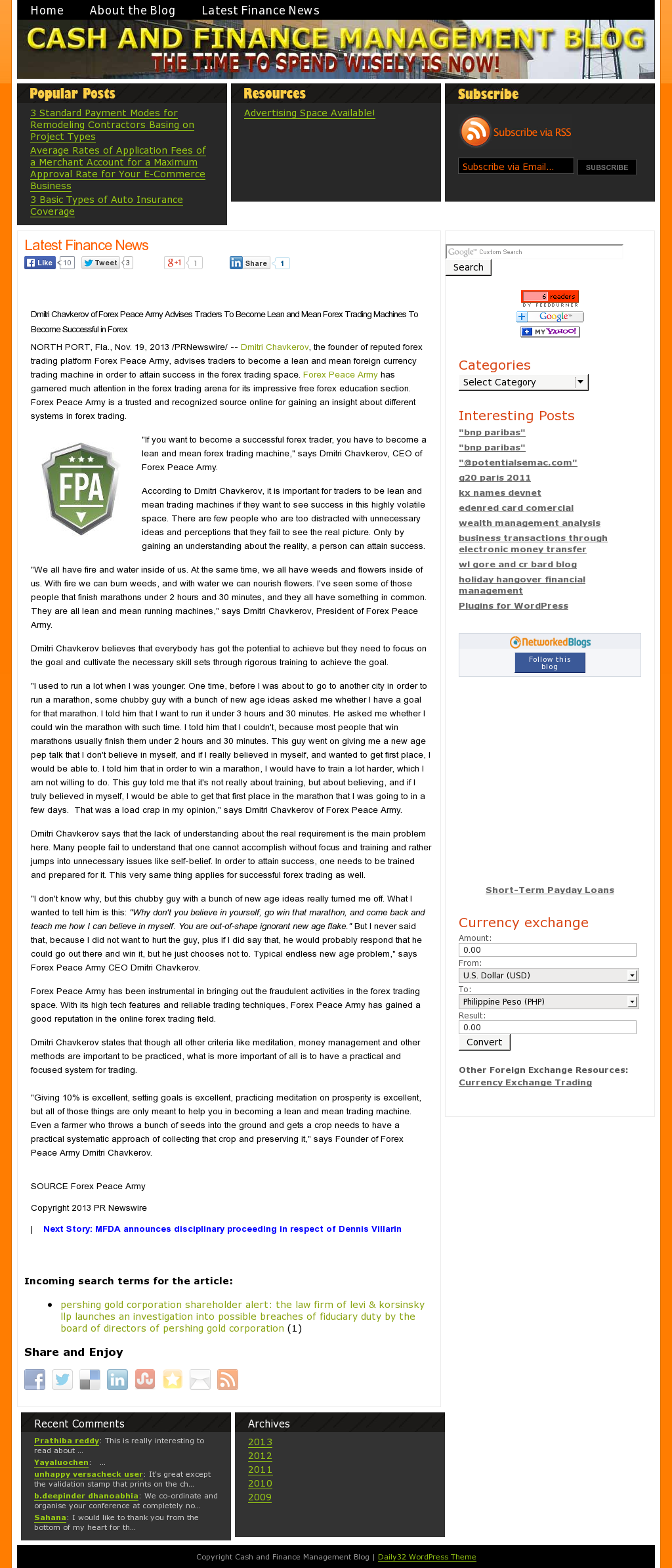 Dmitri Chavkerov - Cash and Finance Management Blog - Lean Forex Trading