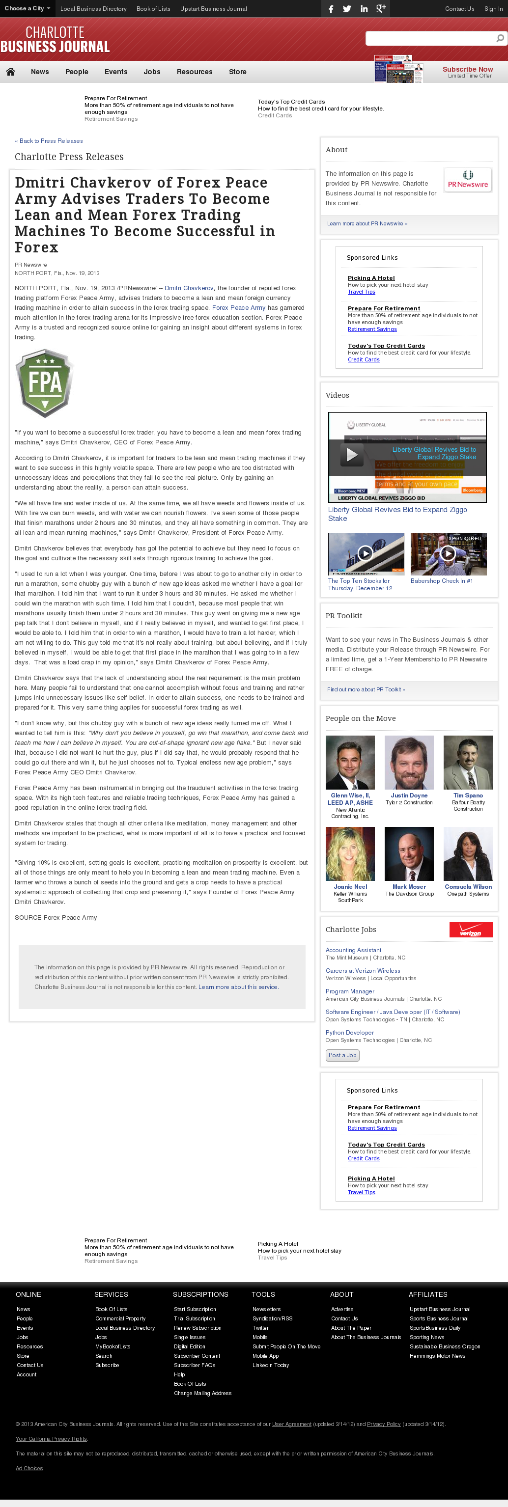 Dmitri Chavkerov - Charlotte Business Journal - Lean Forex Trading