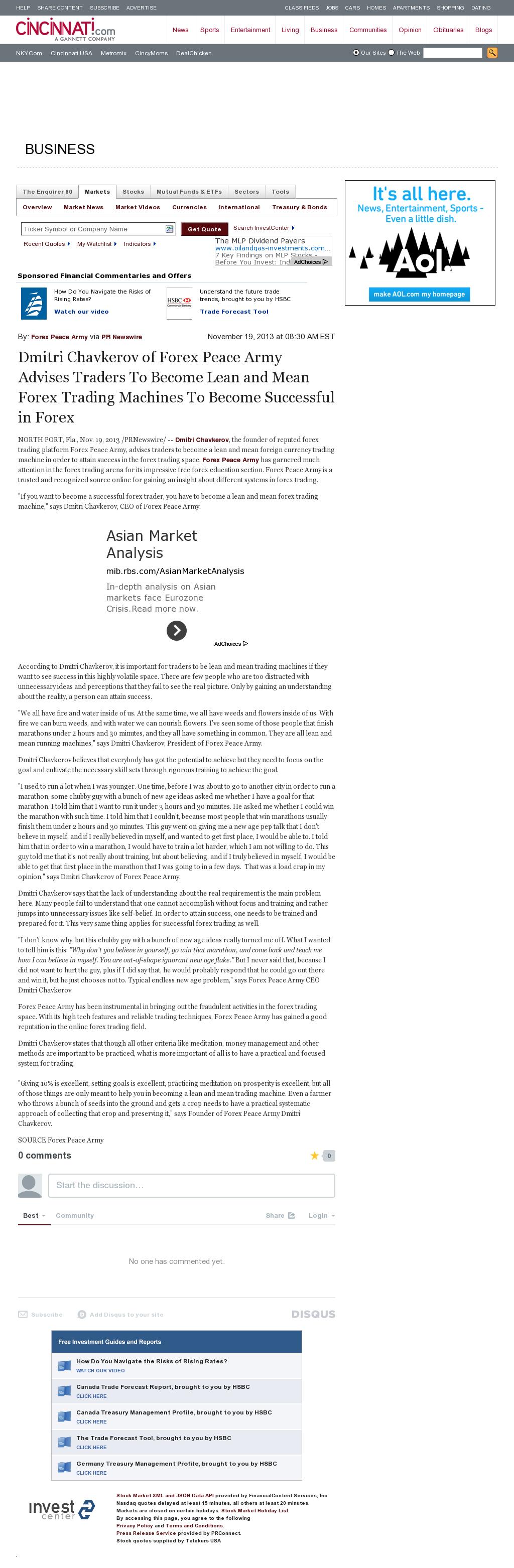 Dmitri Chavkerov - Cincinnati Enquirer - Lean Forex Trading