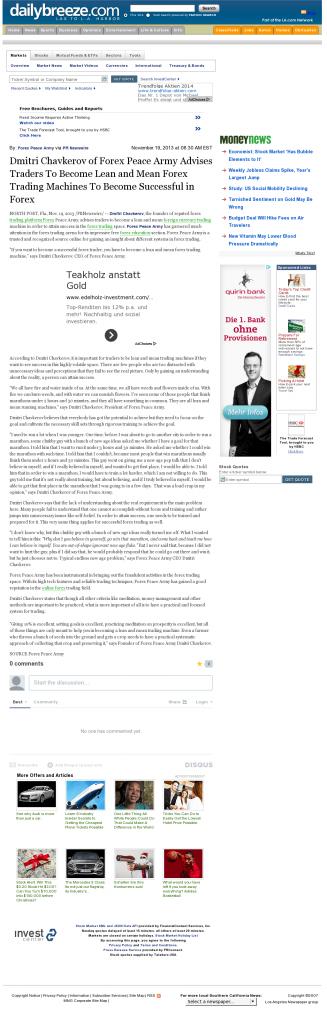Dmitri Chavkerov - Daily Breeze (Torrance, CA) - Lean Forex Trading