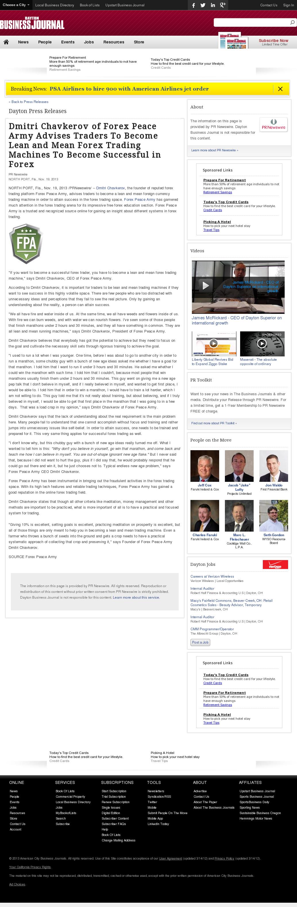Dmitri Chavkerov - Dayton Business Journal - Lean Forex Trading
