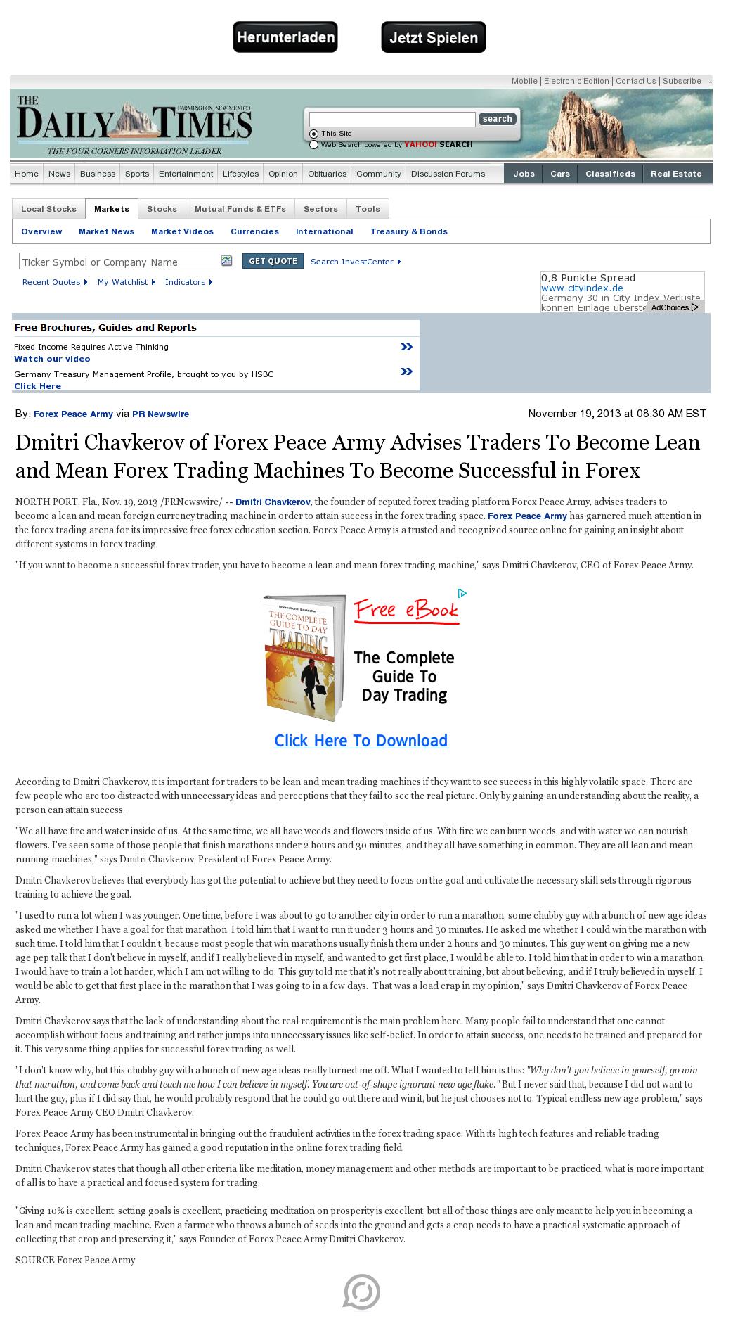 Dmitri Chavkerov - Farmington Daily Times (Farmington, NM) - Lean Forex Trading