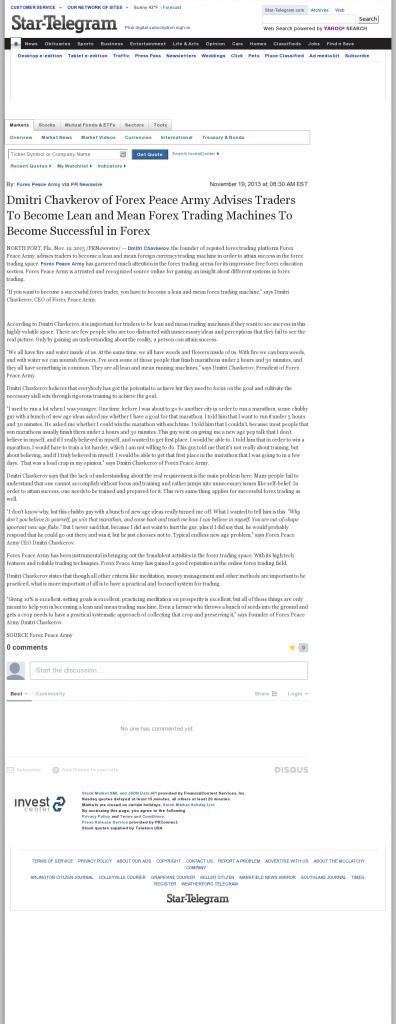 Dmitri Chavkerov - Fort Worth Star-Telegram (Fort Worth, TX) - Lean Forex Trading
