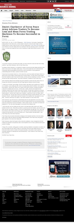 Dmitri Chavkerov - Houston Business Journal - Lean Forex Trading