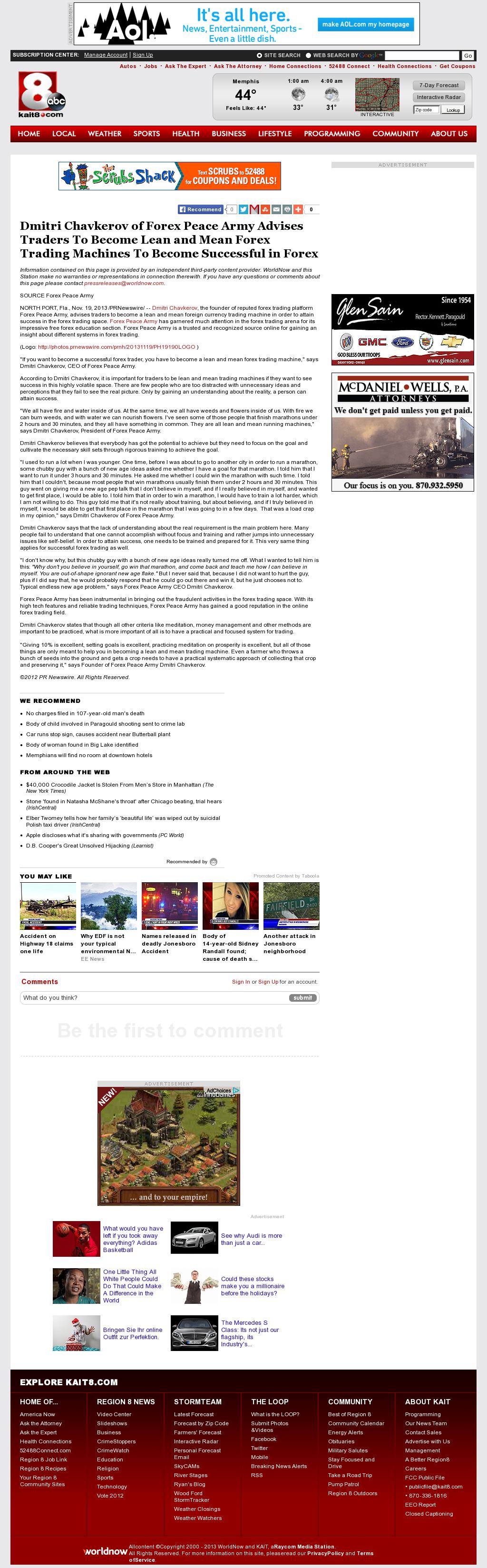 Dmitri Chavkerov - KAIT ABC-8 (Jonesboro, AR) - Lean Forex Trading
