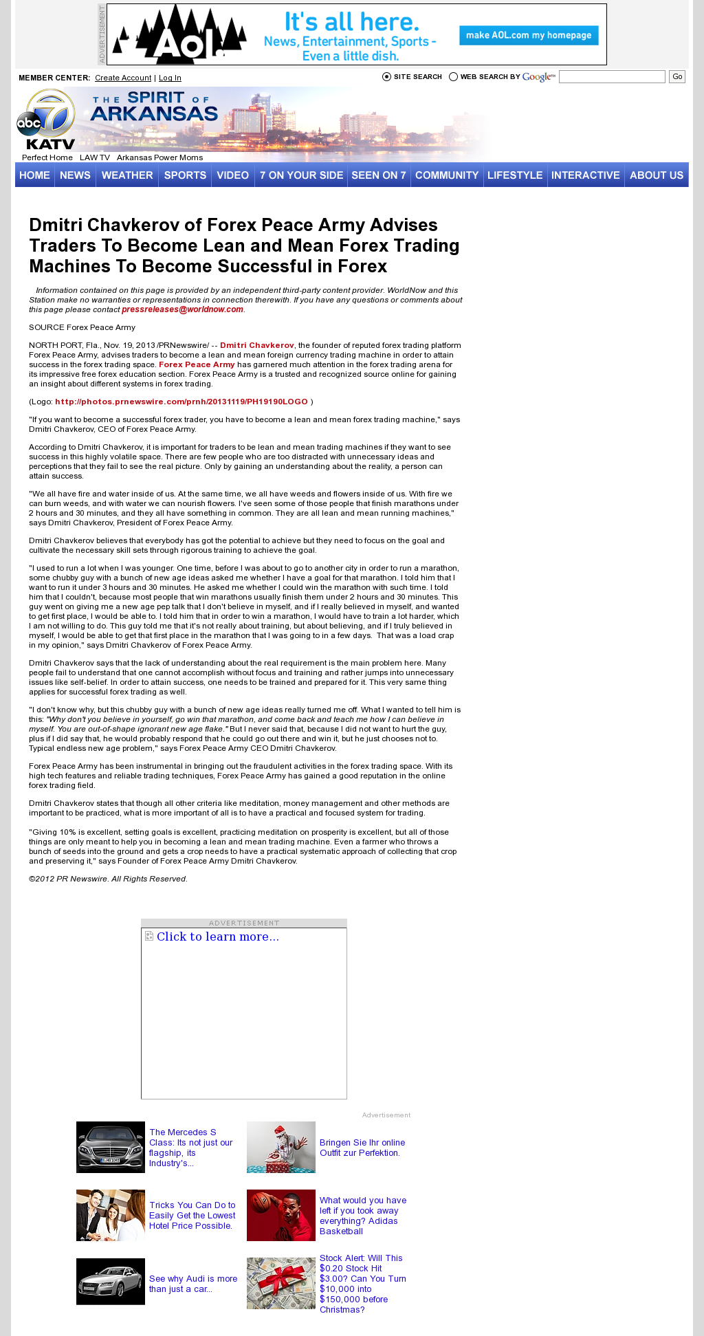 Dmitri Chavkerov - KATV-TV ABC-7 (Little Rock, AR) - Lean Forex Trading