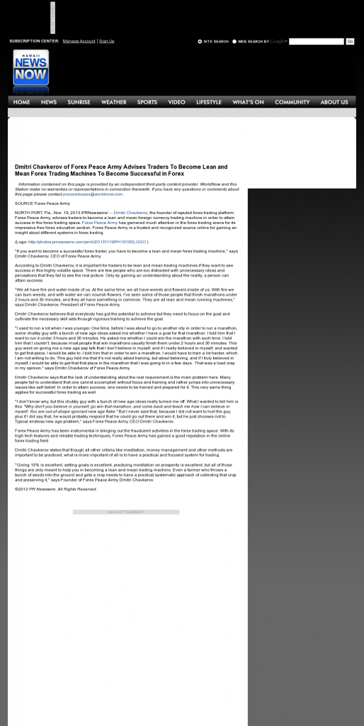 Dmitri Chavkerov - KHNL-TV NBC-8 (Honolulu, HI) - Lean Forex Trading