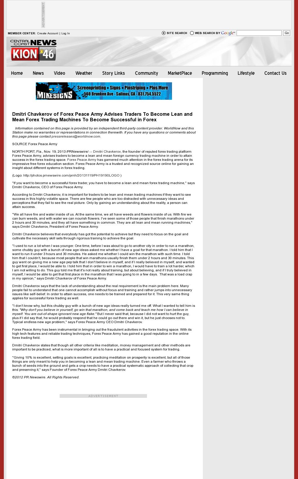 Dmitri Chavkerov - KION CBS-46 (Salinas, CA) - Lean Forex Trading
