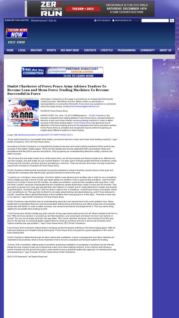 Dmitri Chavkerov - KOLD CBS-13 (Tucson, AZ) - Lean Forex Trading