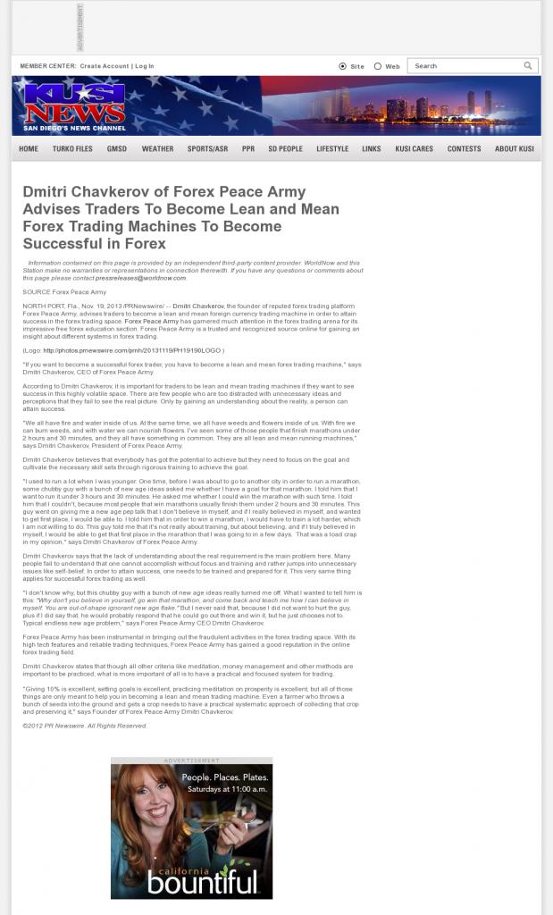 Dmitri Chavkerov - KUSI-TV IND-51 (San Diego, CA) - Lean Forex Trading