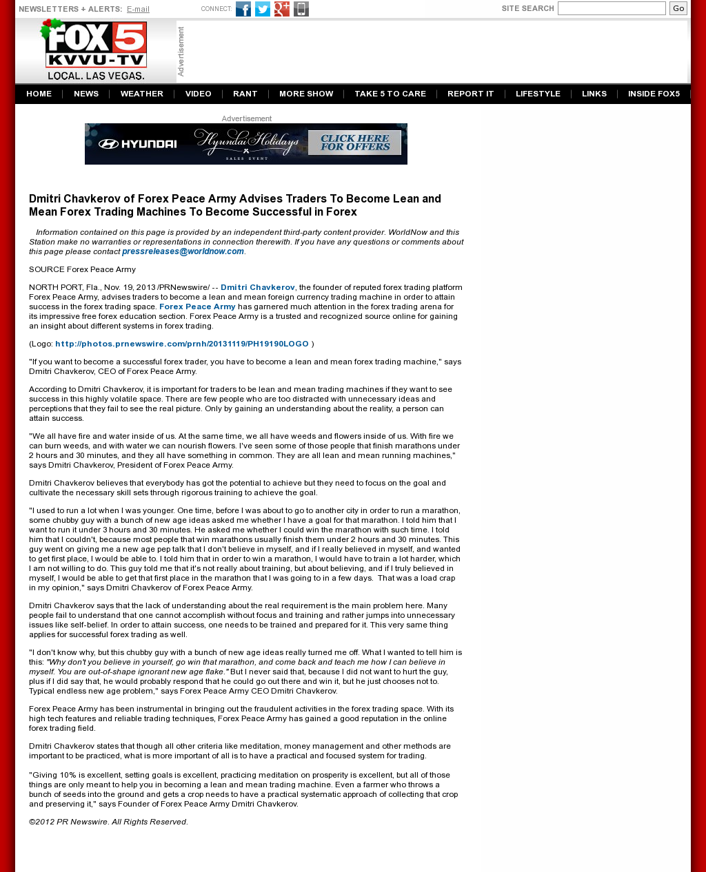 Dmitri Chavkerov - KVVU-TV FOX-5 (Las Vegas, NV) - Lean Forex Trading