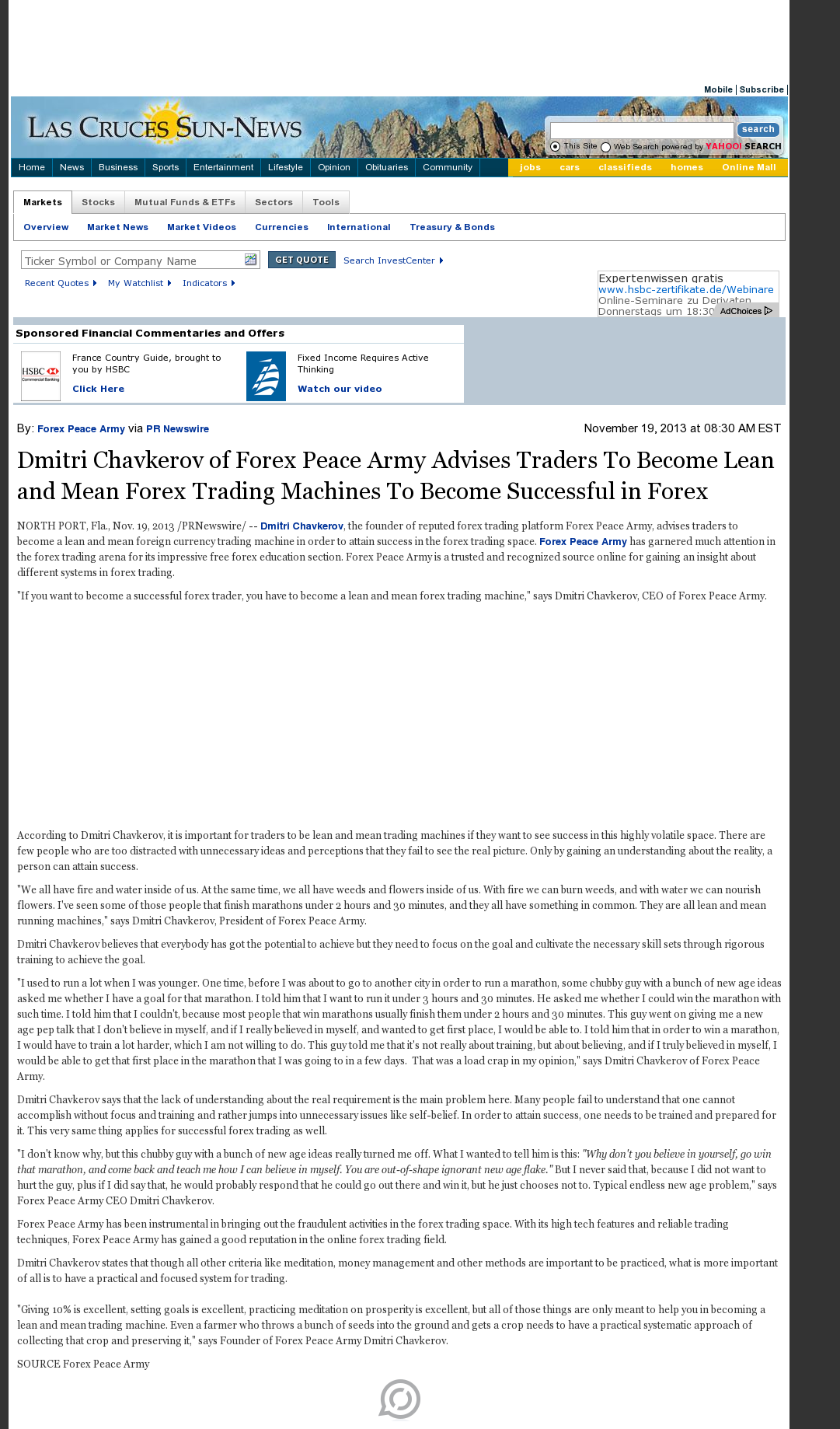 Dmitri Chavkerov - Las Cruces Sun-News - Lean Forex Trading