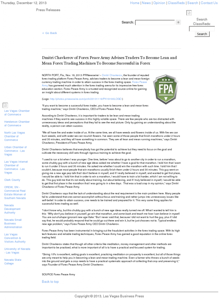 Dmitri Chavkerov - Las Vegas Business Press - Lean Forex Trading