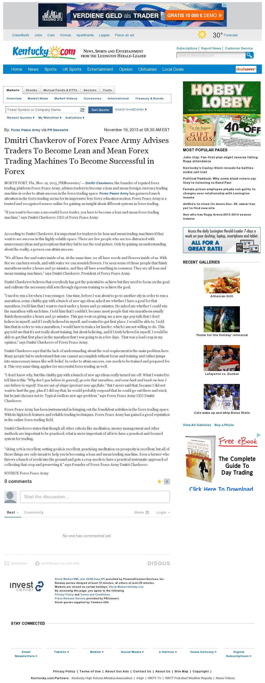 Dmitri Chavkerov - Lexington Herald-Leader (Lexington, KY) - Lean Forex Trading