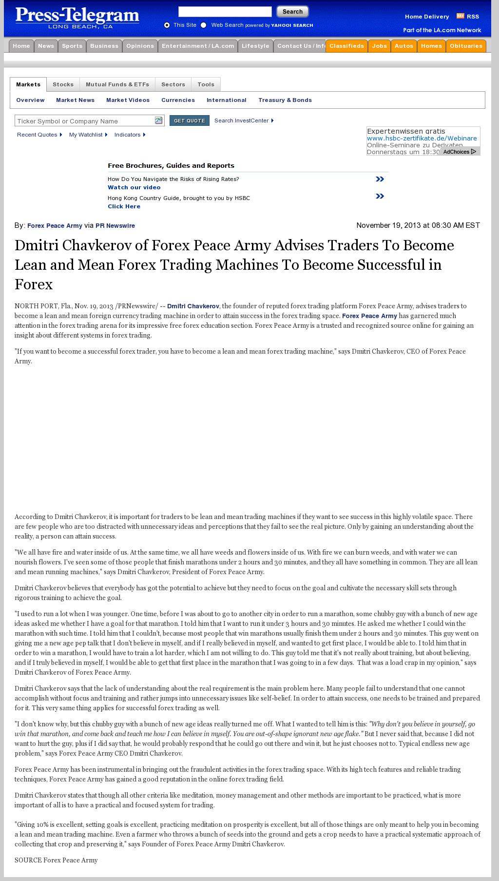 Dmitri Chavkerov - Long Beach Press-Telegram (Long Beach, CA) - Lean Forex Trading