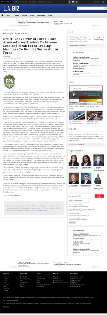 Dmitri Chavkerov - Los Angeles Business from bizjournals - Lean Forex Trading