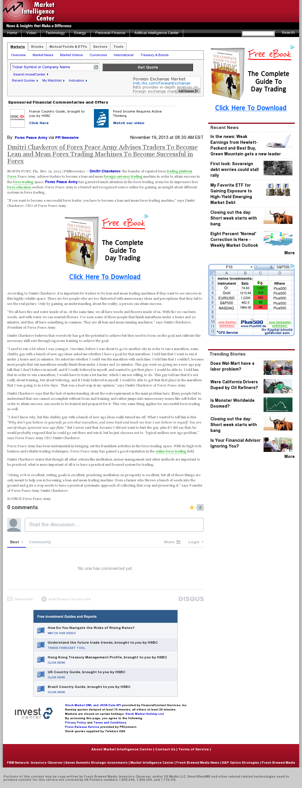 Dmitri Chavkerov - Market Intelligence Center - Lean Forex Trading