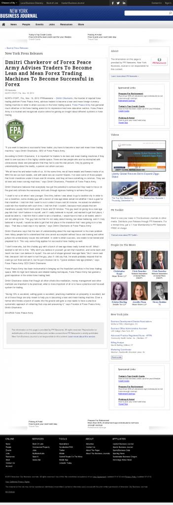 Dmitri Chavkerov - New York Business Journal - Lean Forex Trading