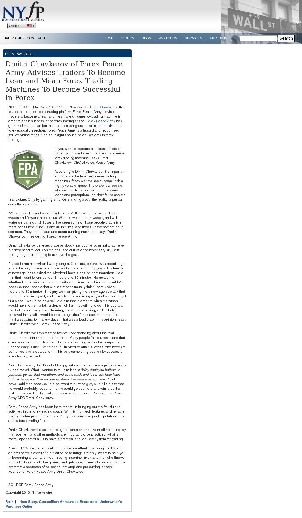 Dmitri Chavkerov - New York Financial Press [NYFP] - Lean Forex Trading