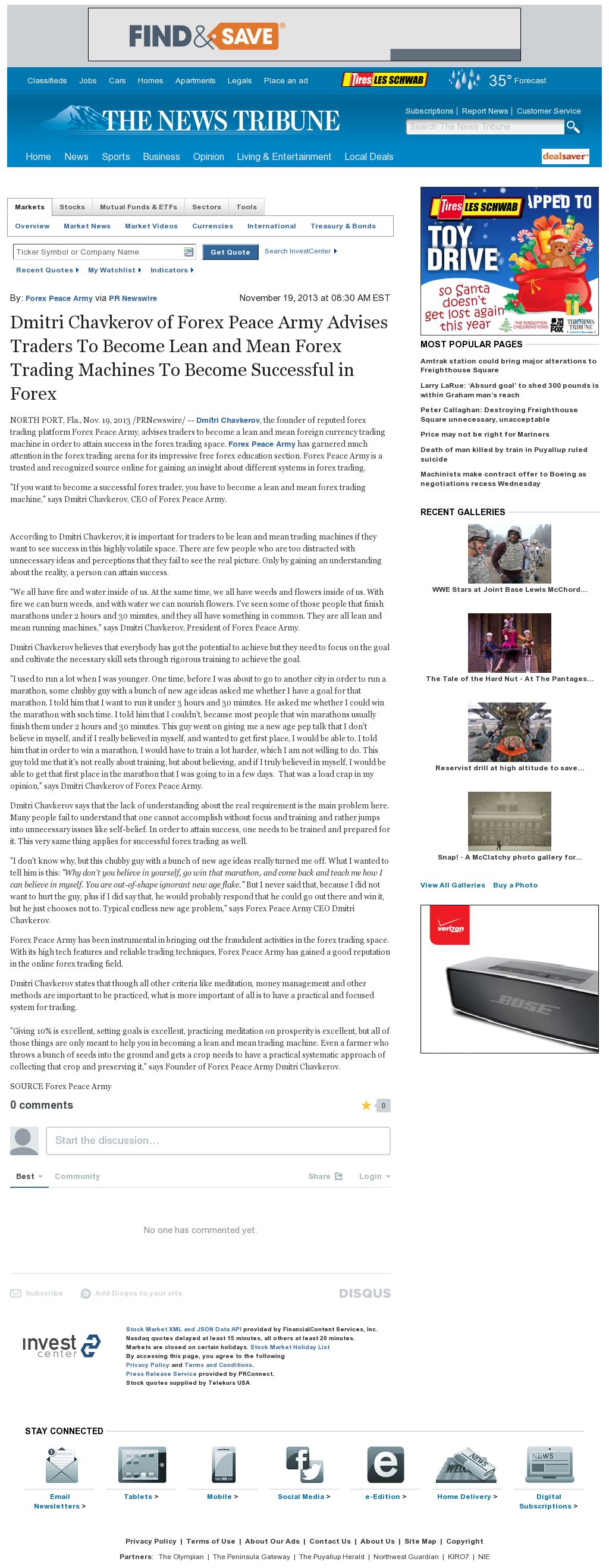 Dmitri Chavkerov - News Tribune (Tacoma, WA) - Lean Forex Trading