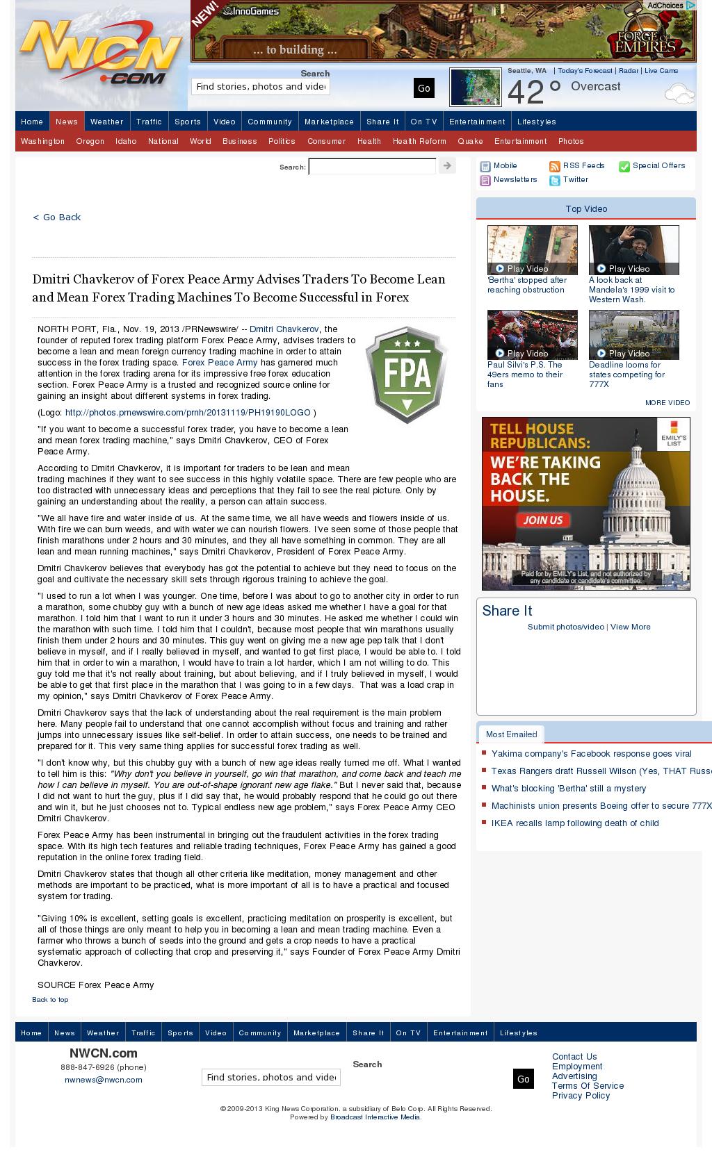Dmitri Chavkerov - NorthWest Cable News (Seattle, WA) - Lean Forex Trading