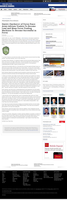 Dmitri Chavkerov - Philadelphia Business Journal - Lean Forex Trading