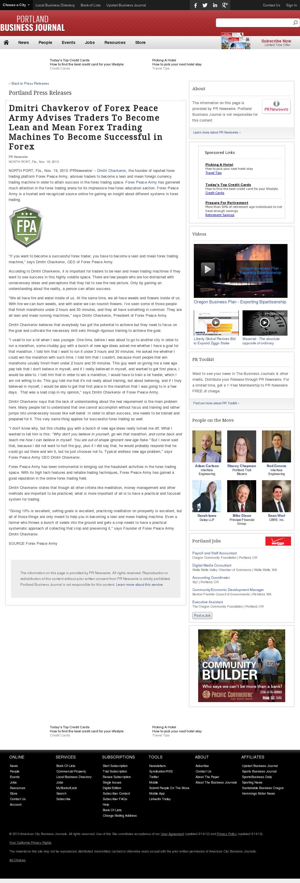 Dmitri Chavkerov - Portland Business Journal - Lean Forex Trading