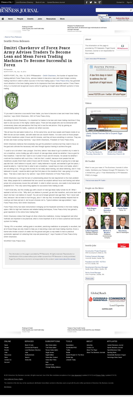 Dmitri Chavkerov - Puget Sound Business Journal - Lean Forex Trading