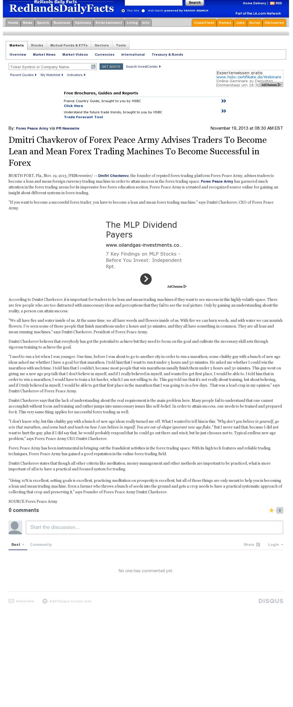 Dmitri Chavkerov - Redlands Daily Facts (Redlands, CA) - Lean Forex Trading