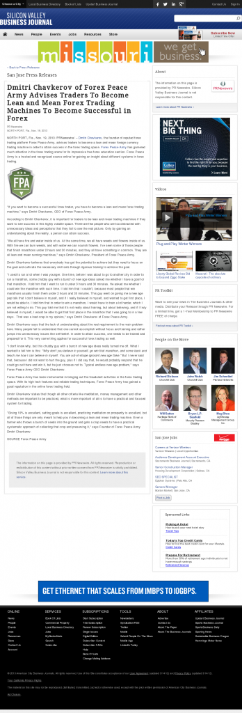 Dmitri Chavkerov - San Jose Business Journal - Lean Forex Trading