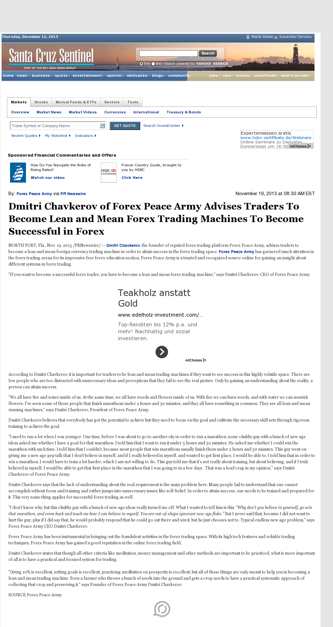 Dmitri Chavkerov - Santa Cruz Sentinel (Santa Cruz, CA) - Lean Forex Trading